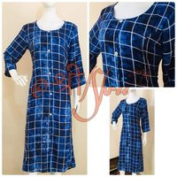 Rayon Checks Blue Print Kurti