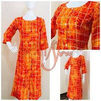 Rayon Checks Red Print Kurti