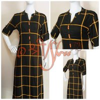 Black Check Printed Rayon Kurti