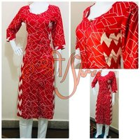 Rayon Red Kurti With Cigarette Pant