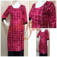 Rayon Checks Print Kurti with Palazzo