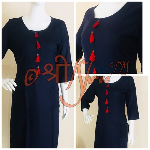 Rayon Straight Fit Plain Kurti