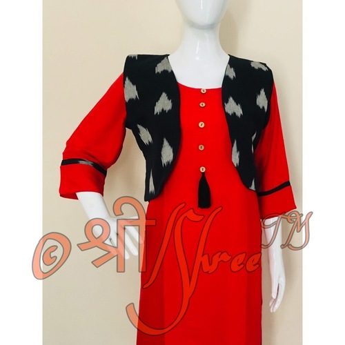 Plain Rayon Kurti with Jacket