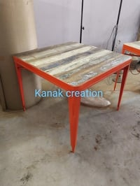 Industrial Wood and Metal Dining Table