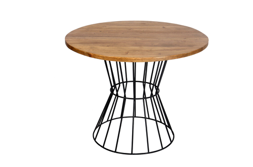 Industrial Round Dining Table, Mango top