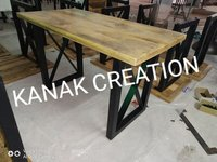 Industrial table of mango  solid wood with iron legs
