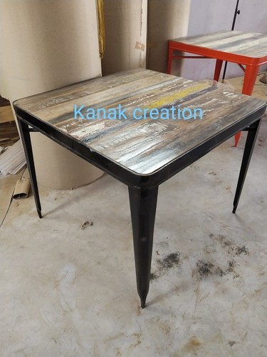 Industrial Style Wood and Metal Dining Table