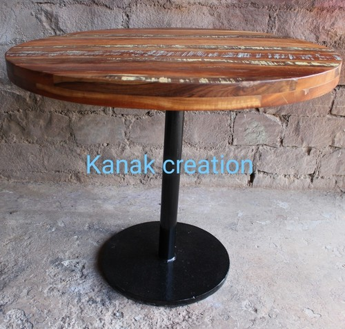 Industrial Round Wooden Top Cafeteria Table