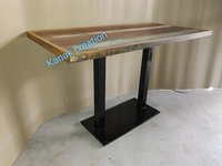 Industrial Top Wooden Dining Table Black