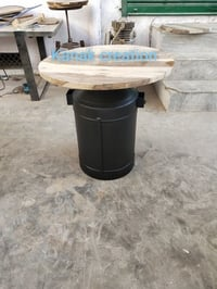 Wooden top industrial round table