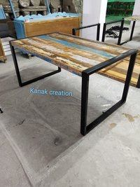 Industrial Wood Dining Table with Metal Leg