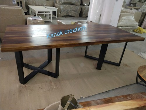 wooden top with Steel Trestle Dining Table
