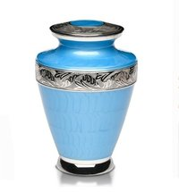 New Brass Cremation Urn with Nickel Overlay & Light Blue Enamel
