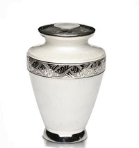 New Brass Cremation Urn with Nickel Overlay & White Enamel
