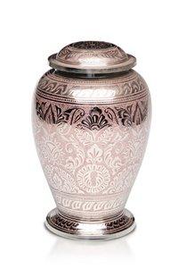 New Brass Cremation Urn with Nickel Overlay & Pink Pattern