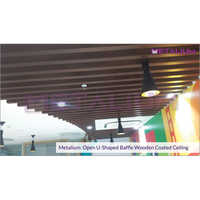 Metalium Open U-Shaped Baffle Wooden Coated Ceiling