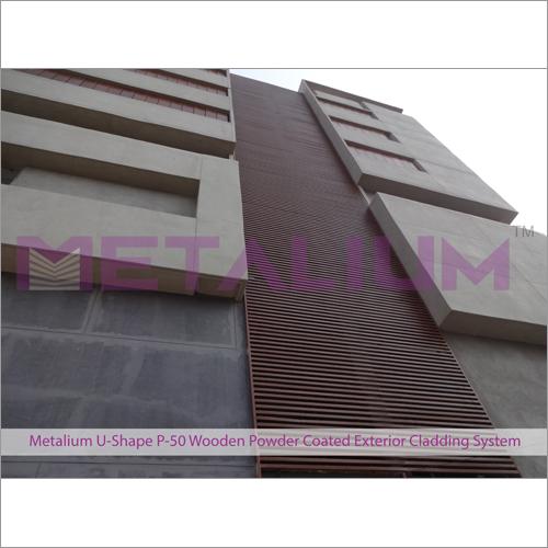 Metalium U-Shape P-50 Wooden Powder Coated Exterior Cladding System
