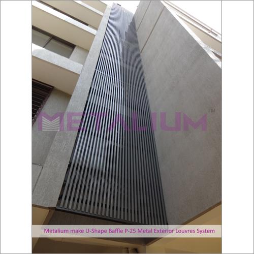 Metalium Make U-Shape Baffle P-25 Metal Exterior Louvres System