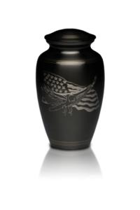 American Eagle & Flag Brass Urn