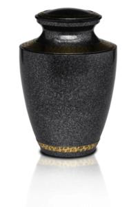 Brass Cremation Urn in Speckled Black with Brass Detail