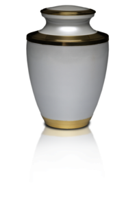 Brass Cremation Urn in White with Brass Band Adult