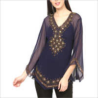 Embroidered Net Top