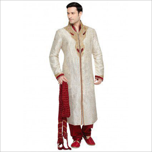 Mens Maroon Wedding Sherwani