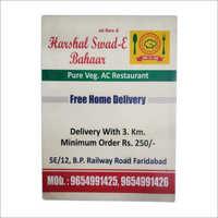 Hotel Menu Printing Services