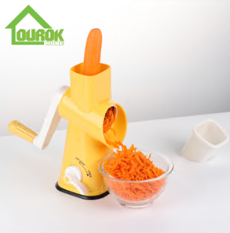 Round multi vegetable nut onin carrot potato slicer cutter grater with 3 blades C325 (Yellow)