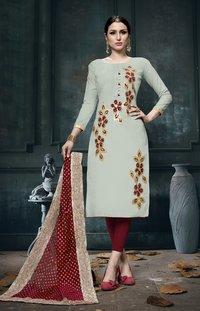 Light Grey Cotton Dress Material Having Gota Patti Lace Work