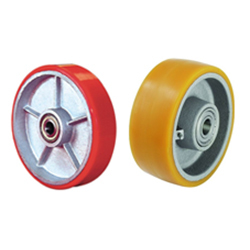 Red Orange Polyurethene On Cast Iron Blanks Trolley Wheels