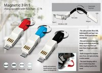 C74 - MAGNETIC 3 IN 1 CHARGING CABLE WITH KEY CHAIN