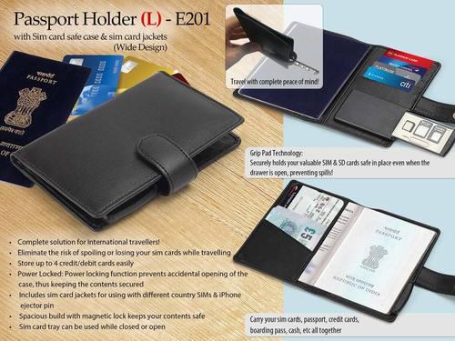 E201  PASSPORT HOLDER WITH SIM CARD SAFE CASE & SIM CARD JACKETS (L) (WIDE DESIGN
