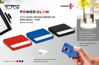 E206 - POWERGLOW 3 IN 1 COASTER WITH LOGO HIGHLIGHT AND BOTTLE OPENER