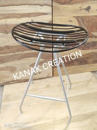 Iron metal with silver paint legs Stool