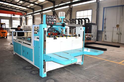Corrugated Cardboard Semi Auto Folder Gluer , Carton Box Folding Gluing Machine