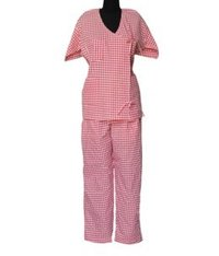 Patient Uniforms Shirt & Pajama Red Check & Stripe