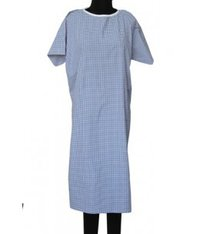 Patient Gown Long Blue Check & Stripe