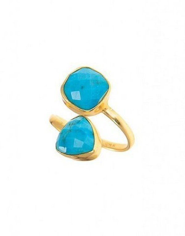Turquoise Gold Plated Two Gemstone Ring