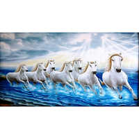 White Running Seven Horses On Water As Per Vastu