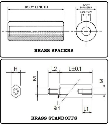 Brass Customized Spacers and Standoffs