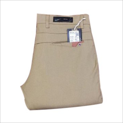 Mens Beige Plain Trouser