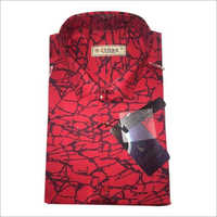 Mens Red Printed Cotton Shirt