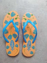 yellow printed slippers