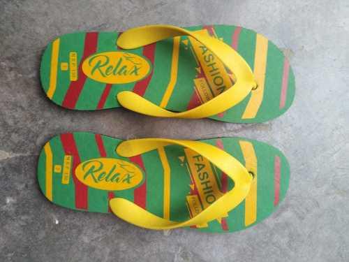green printed slipper