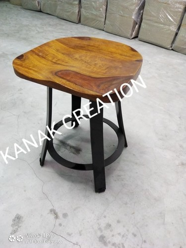 Bar stool With Black Finished Metal Frame and Wooden Top