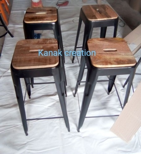 Industrial Metal Frame with wooden seat top