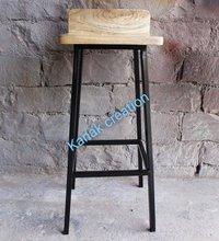Wood Top Metal Bar Stool