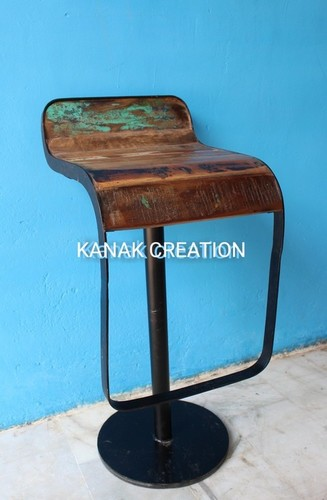 Reclaimed wood antique style bar stool