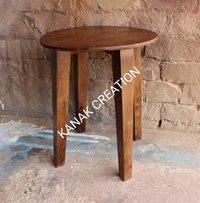 Round seat wooden stool